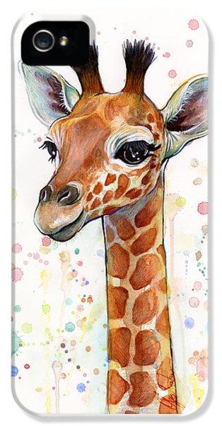 Baby Giraffe Watercolor  IPhone 5 Case