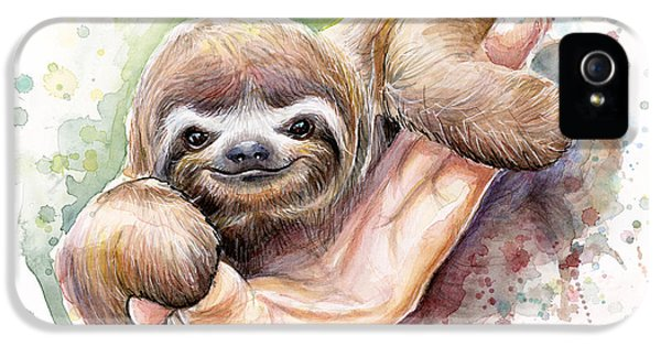Baby Sloth Watercolor IPhone 5 Case