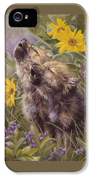 Baby Wolves Howling IPhone 5 Case by Lucie Bilodeau