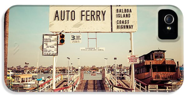 Balboa Island Ferry Newport Beach Vintage Picture IPhone 5 Case by Paul Velgos