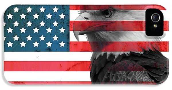 Bald Eagle American Flag IPhone 5 Case by Dan Sproul
