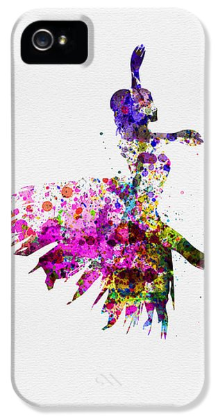 Ballerina On Stage Watercolor 4 IPhone 5 Case by Naxart Studio