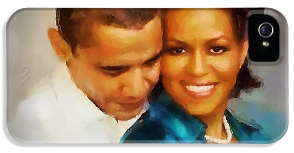 Barack And Michelle IPhone 5 Case by Wayne Pascall