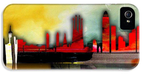 Barcelona Spain Skyline Watercolor IPhone 5 Case