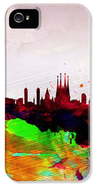 Barcelona Watercolor Skyline IPhone 5 Case by Naxart Studio
