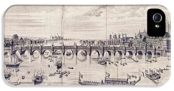 Barges At Westminster Bridge IPhone 5 Case by Library Of Congress