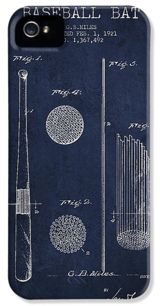 Baseball Bat Patent Drawing From 1921 IPhone 5 Case by Aged Pixel