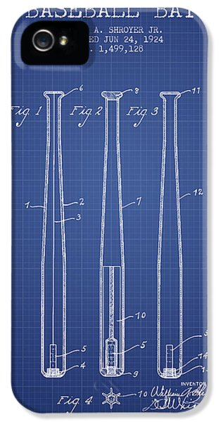 Softball iPhone 5 Case - Baseball Bat Patent From 1924 - Blueprint by Aged Pixel