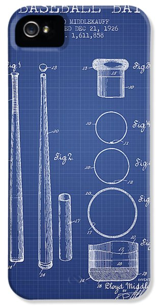 Softball iPhone 5 Case - Baseball Bat Patent From 1926 - Blueprint by Aged Pixel