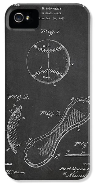 Baseball Cover Patent Drawing From 1923 IPhone 5 Case by Aged Pixel