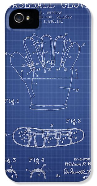 Softball iPhone 5 Case - Baseball Glove Patent From 1922 - Blueprint by Aged Pixel