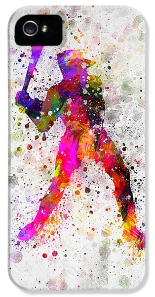 Softball iPhone 5 Case - Baseball Player - Holding Baseball Bat by Aged Pixel