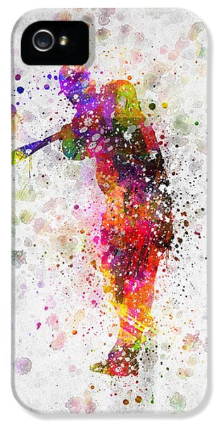 Softball iPhone 5 Case - Baseball Player - Taking A Swing by Aged Pixel