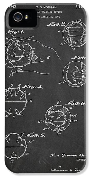 Softball iPhone 5 Case - Baseball Training Device Patent Drawing From 1961 by Aged Pixel