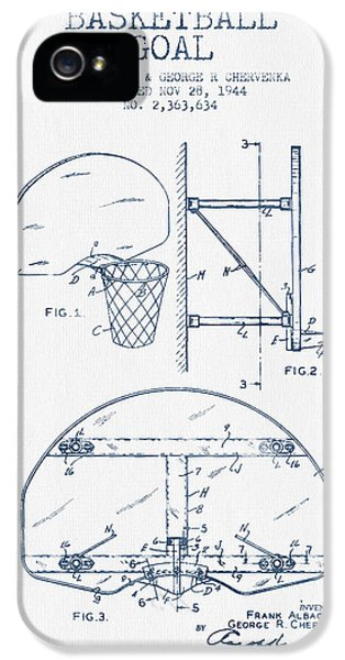 Basketball Goal Patent From 1944 - Blue Ink IPhone 5 / 5s Case by Aged Pixel