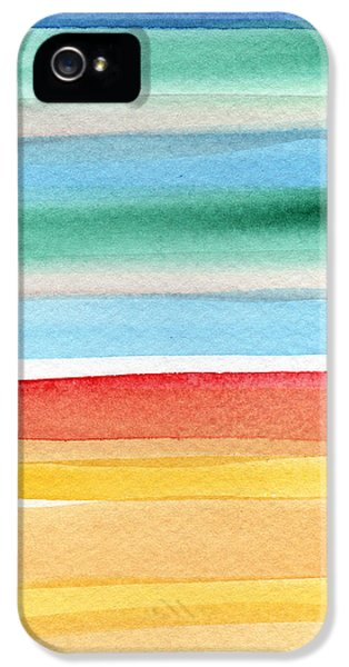 Beach Blanket- Colorful Abstract Painting IPhone 5 Case by Linda Woods