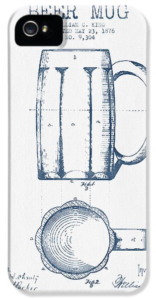 Beer Mug Patent From 1876 -  Blue Ink IPhone 5 Case