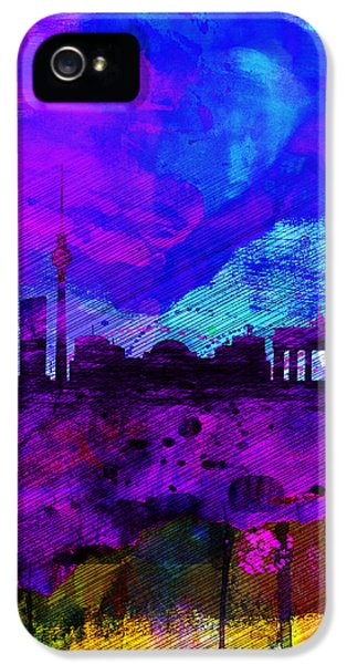 Berlin Watercolor Skyline IPhone 5 Case by Naxart Studio