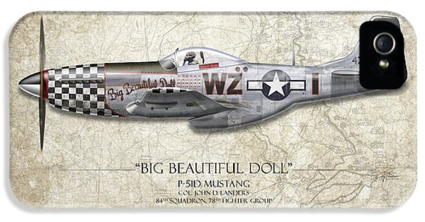 Big Beautiful Doll P-51d Mustang - Map Background IPhone 5 Case by Craig Tinder