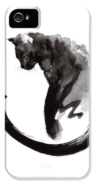 Cat iPhone 5 Case - Black Cat by Mariusz Szmerdt