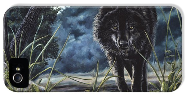 Black Wolf Hunting IPhone 5 Case by Lucie Bilodeau