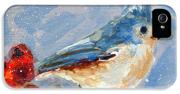 Blue Bird In Winter - Tuft Titmouse Modern Impressionist Art IPhone 5 Case by Patricia Awapara