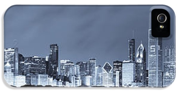 Blue Chicago Skyline IPhone 5 Case by Sebastian Musial
