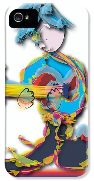 IPhone 5 Case featuring the digital art Blue Hair Guitar Player by Marvin Blaine