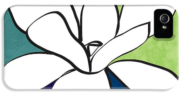 Blue Magnolia 1- Floral Art IPhone 5 Case by Linda Woods
