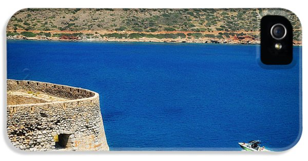 Blue iPhone 5 Case - Blue Ocean And A Boat In Greece by Matthias Hauser