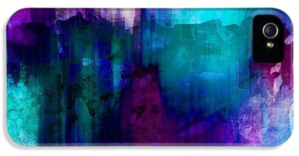 Blue Rain  Abstract Art   IPhone 5 Case by Ann Powell