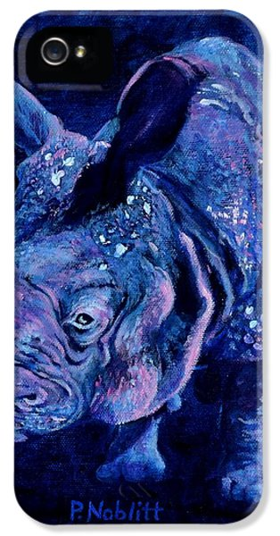 Indian Rhino - Blue IPhone 5 Case