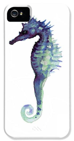 Seahorse iPhone 5 Case - Blue Seahorse by Joanna Szmerdt