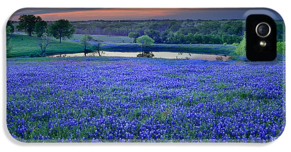 Bluebonnets iPhone 5 Case - Bluebonnet Lake Vista Texas Sunset - Wildflowers Landscape Flowers Pond by Jon Holiday