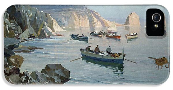 Boats In A Rocky Cove  IPhone 5 Case by Edward Henry Potthast