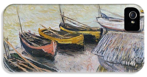 Boats On The Beach IPhone 5 Case by Claude Monet