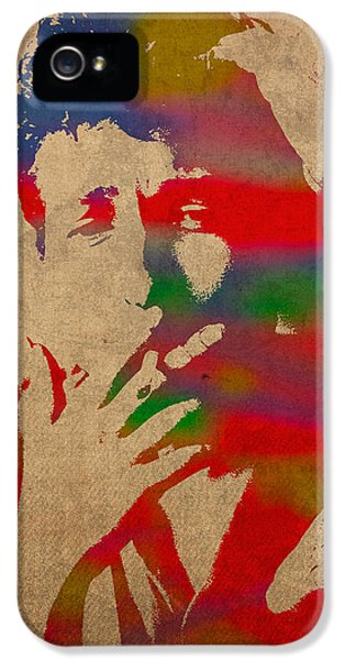 Bob Dylan Watercolor Portrait On Worn Distressed Canvas IPhone 5 Case by Design Turnpike