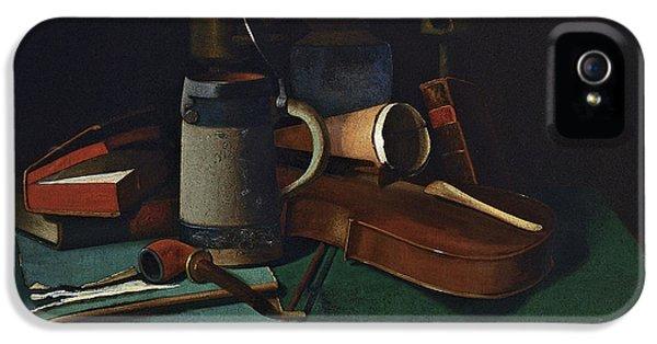 Violin iPhone 5 Case - Books Mug Pipe And Violin by John Frederick Peto
