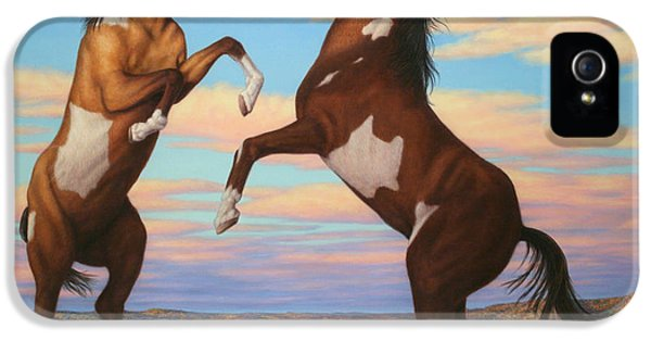 Pear iPhone 5 Case - Boxing Horses by James W Johnson