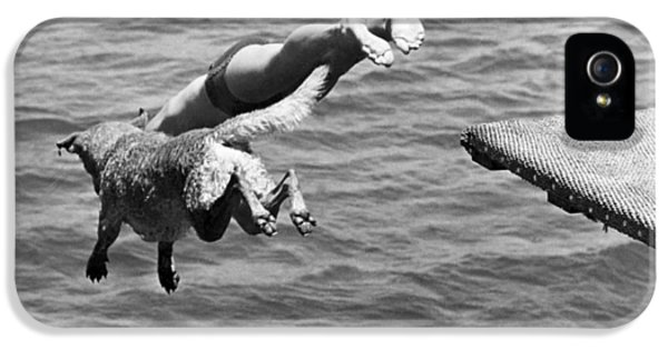 Boy And His Dog Dive Together IPhone 5 Case by Underwood Archives