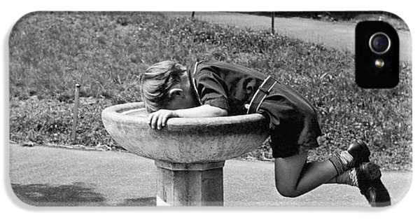 Boy Drinking From Fountain IPhone 5 Case