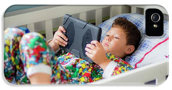 Boy In Bed Using A Digital Tablet IPhone 5 Case