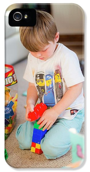 Boy Playing With Plastic Bricks IPhone 5 Case