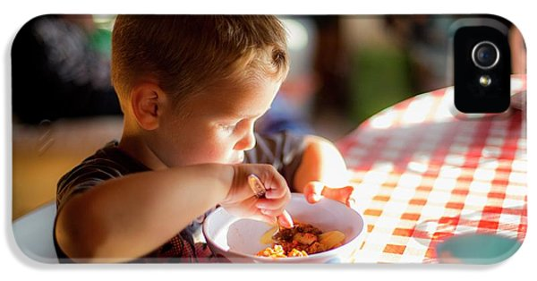 Boy Sitting At Table Eating A Meal IPhone 5 Case