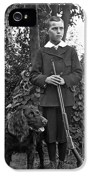 Boy With His Rifle And Dog IPhone 5 Case
