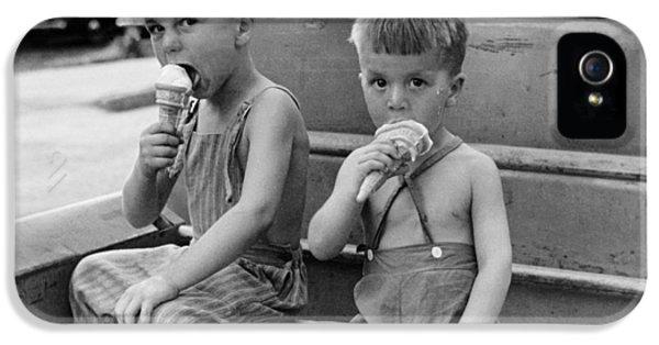 Boys Eating Ice Cream Cones IPhone 5 Case by John Vachon