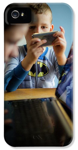 Boys Using Smartphone And Laptop IPhone 5 Case by Samuel Ashfield