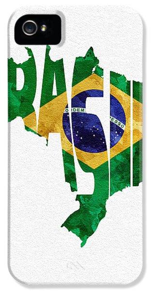 Brazil Typographic Map Flag IPhone 5 Case by Ayse Deniz