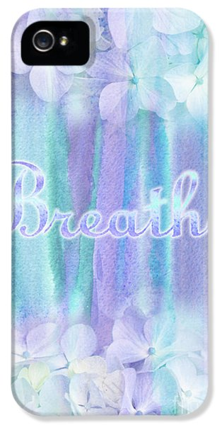 Breathe iPhone 5 Case - Breathe Refreshing Hydrangea Turquoise Purple Watercolor by Beverly Claire Kaiya