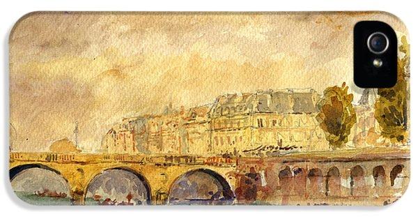 Bridge Over The Seine Paris. IPhone 5 Case by Juan  Bosco